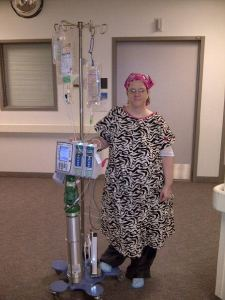 This is during my last hospital stay. The gown I am wearing was a gift from my good friend @LaurieMit and the zebra stripe is the ribbon for Carcinoid Cancer
